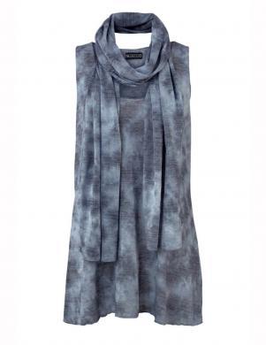 LAURA SCOTT zilas krāsas sieviešu blūze ar šalli