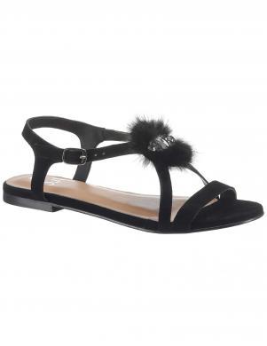 Stilīgas melnas sieviešu zamšādas sandales ILC