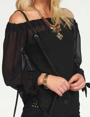 MELROSE melnas krāsas skaista sieviešu blūze