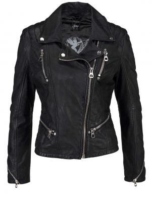 Melna ādas sieviešu jaka GIPSY