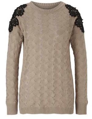 Brūns džemperis ar mežģīnēm HEINE