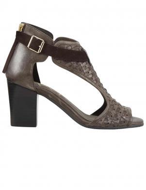 Sieviešu brūnas ādas augstpapēžu sandales XYXYX