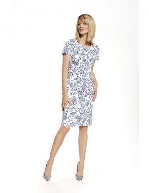 ENNYWEAR  balta eleganta kleita ar zilu ornamentu