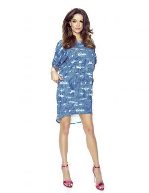 BERGAMO sieviešu zilas/baltas krāsas kleita