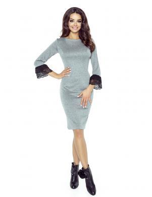 BERGAMO pelēkas krāsas skaista sieviešu kleita
