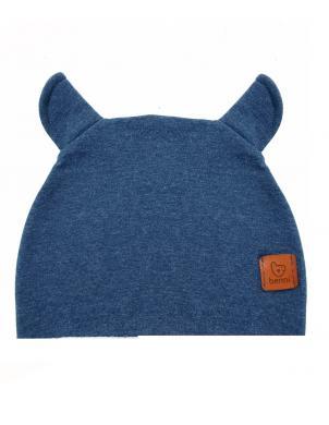 BENNI zilas krāsas bērnu cepure ar ausīm BEANIE BEAR