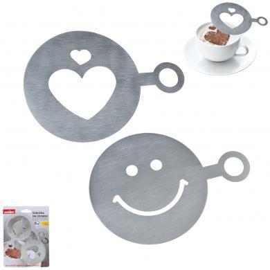 Šabloni kafijas dekorēšanai SMILE & HEART, 2 gab.