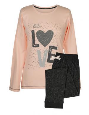 MUZZY sieviešu rozā/melnas krāsas kokvilnas ar garām piedurknēm pidžama