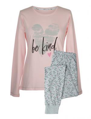 MUZZY sieviešu rozā/pelēkas krāsas kokvilnas ar garām piedurknēm pidžama