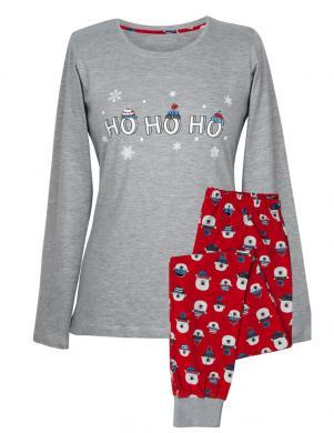 MUZZY sieviešu pelēkas/sarkanas krāsas kokvilnas ar garām piedurknēm pidžama