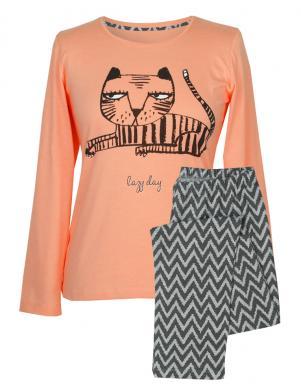 MUZZY sieviešu oranžas/pelēkas krāsas kokvilnas ar garām piedurknēm pidžama