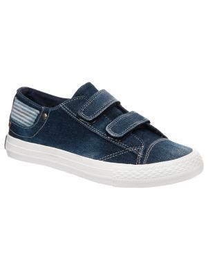 Bērnu zili tekstīla apavi ar uzlīmi KEDDO