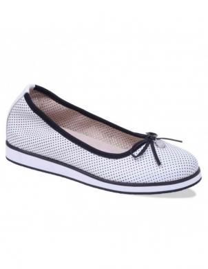 Sieviešu balti perforēti ādas apavi ar banti CAPRICE