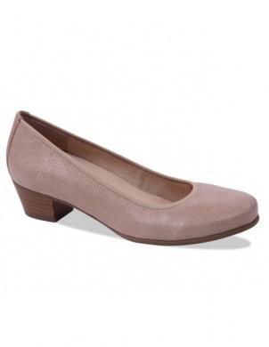 Sieviešu krēmīgas krāsas ādas komforti apavi ar zemu papēdi CAPRICE