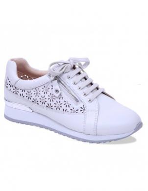 Sieviešu balti ādas perforēti brīva laika apavi ar ziedu motīvu CAPRICE