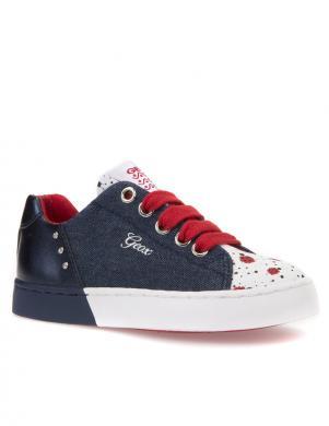 Bērnu zili šņorējami apavi ar baltu zoli JR CIAK GIRL GEOX