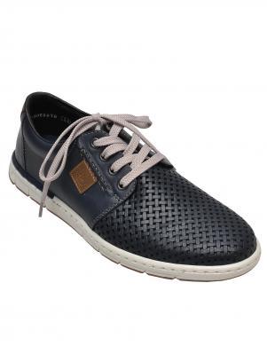 Vīriešu zili pītās ādas brīva laika apavi RIEKER