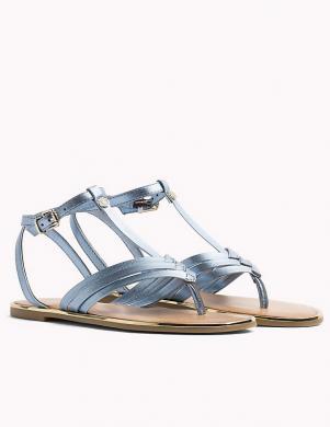 Sieviešu zilas metalizētas elegantas sandales pār pirkstu TOMMY HILFIGER