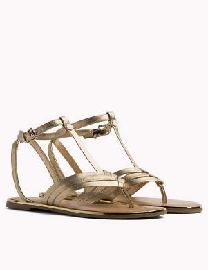 Sieviešu zelta elegantas sandales pār pirkstu TOMMY HILFIGER