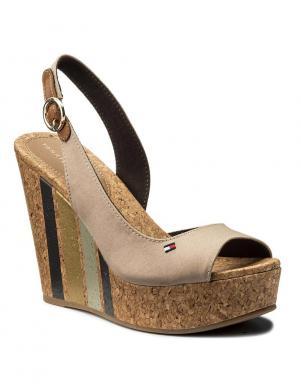 Sieviešu krēmīgas krāsas pilnzoles sandales TOMMY HILFIGER