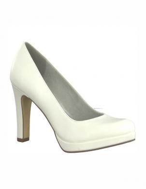 Sieviešu balti spīdīgi augstpapēžu apavi TAMARIS