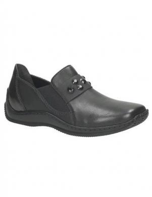 RIEKER sieviešu melni ādas apavi