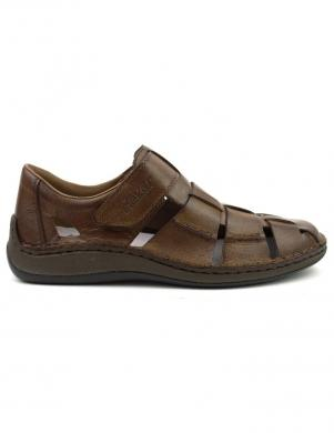 RIEKER vīriešu brūni ādas atvērti apavi