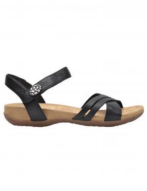 RIEKER sieviešu melnas ādas sandales