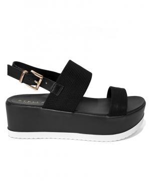 STELLA sieviešu melnas sandales ar augstu zoli