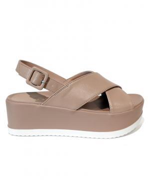STELLA sieviešu krēmīgas krāsas sandales ar augstu zoli