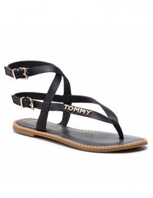 TOMMY HILFIGER sieviešu tumši zilas ādas atvērtas sandales