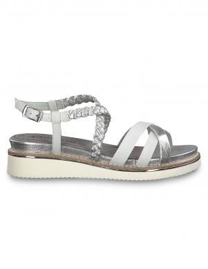 TAMARIS sieviešu baltas/sudraba krāsas ādas sandales EDA
