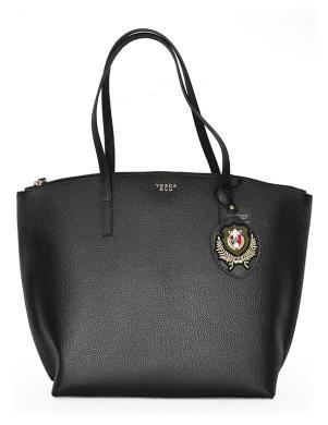 TOSCA BLU melna ādas liela sieviešu soma