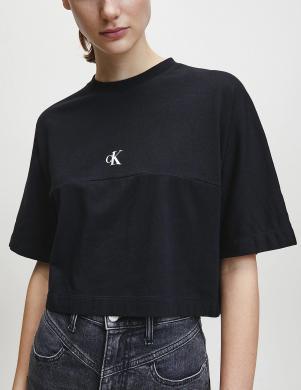 CALVIN KLEIN JEANS sieviešu melns brīva kritiena krekls