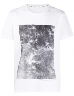CALVIN KLEIN vīriešu balts krekls ar īsām piedurknēm