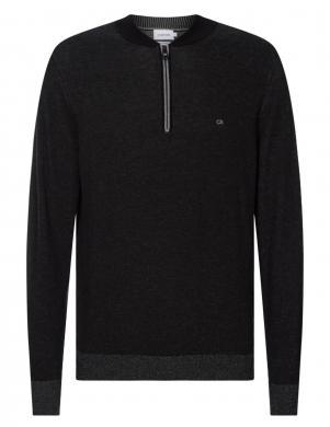 CALVIN KLEIN  vīriešu melns džemperis ar rāvējslēdzēju