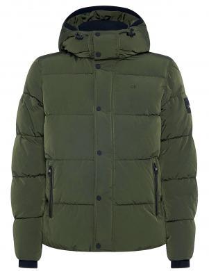 CALVIN KLEIN vīriešu tumši zaļa stepēta jaka ar kapuci