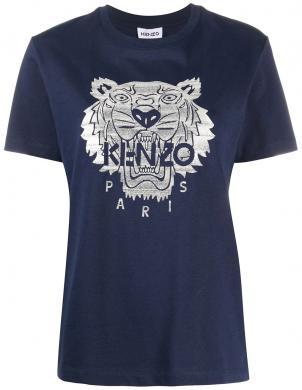 KENZO sieviešu tumši zils krekls ar sudraba krāsas lauvu