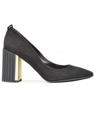LA CONTE sieviešu melni ādas klasiski augstpapēžu apavi