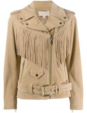 MICHAEL KORS sieviešu gaiša zamšādas jaka ar bārkstīm