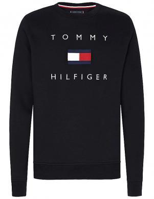 TOMMY HILFIGER vīriešu melns džemperis ar logotipu