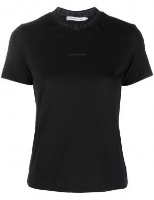 CALVIN KLEIN JEANS sieviešu melns kokvilnas krekls