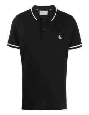 CALVIN KLEIN JEANS vīriešu melns kokvilnas krekls ar apkakli
