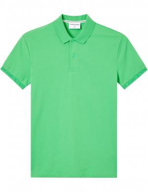 CALVIN KLEIN JEANS vīriešu zaļš Polo tipa krekls ar īsām piedurknēm