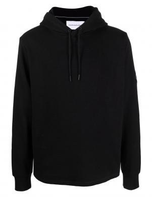 CALVIN KLEIN JEANS vīriešu melns kokvilnas džemperis ar kapuci