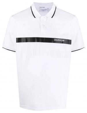 CALVIN KLEIN vīriešu balts kokvilnas krekls ar logotipu