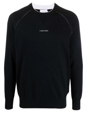 CALVIN KLEIN vīriešu melns kokvilnas džemperis