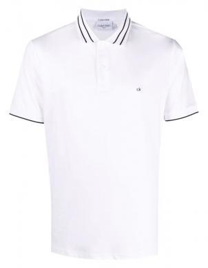CALVIN KLEIN vīriešu balts kokvilnas krekls ar apkakli