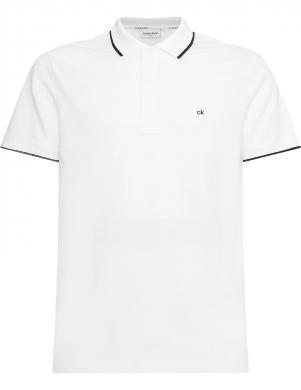 CALVIN KLEIN vīriešu balts Polo tipa krekls ar īsām piedurknēm