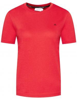 CALVIN KLEIN sieviešu sarkans krekls ar īsām piedurknēm